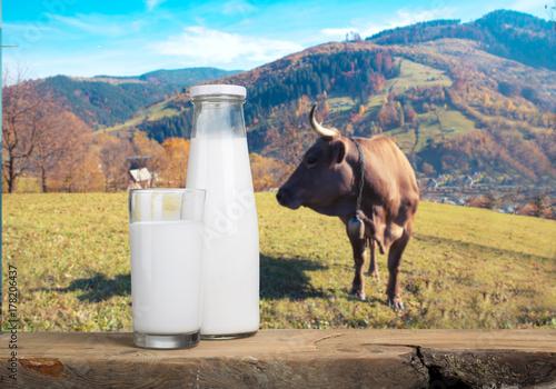 Plakat Butelka mleko i szkło mleko na drewnianym stole na błękitnym tle