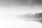 Abstract contemporary art, fog over lake - 178209625