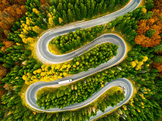 Fototapeta Las Lorry winding up its way on a curvy road through autumn colored