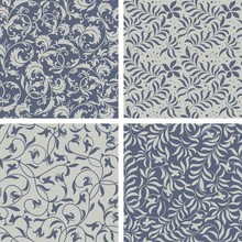Elegant Stylish Abstract Floral Wallpaper. Vector Seamless Pattern Background. Set Of Four Ornated Floral Seamless Texture.