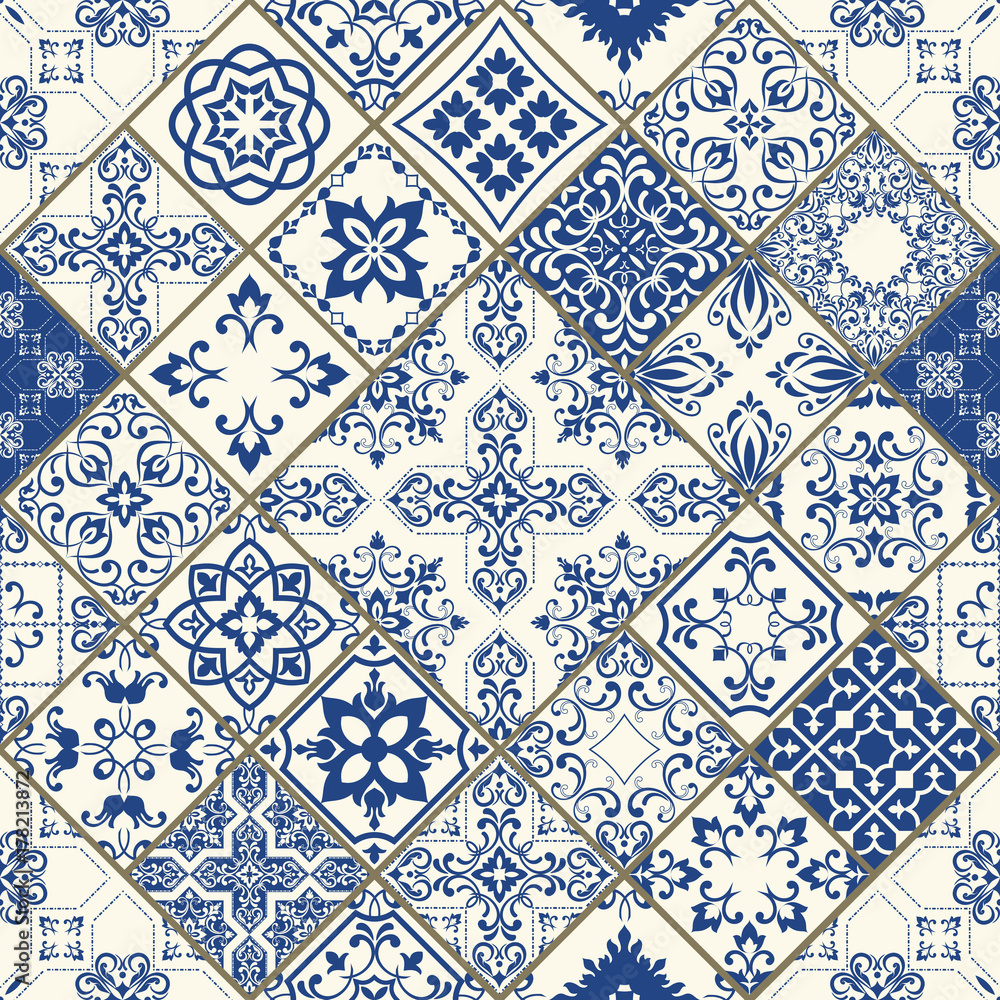 Set of tiles background For wallpaper. Backgrounds, decoration for your design, ceramic, Web. Vector tile pattern, Lisbon floral mosaic, Mediterranean seamless blue ornament
