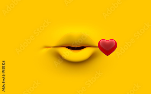 Valokuva  Mouth of character on a yellow background