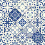 Traditional ornate portuguese decorative tiles azulejos. Vintage pattern. Abstract background. Vector hand drawn illustration - 178214044