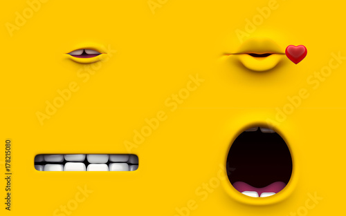 Set Mouth of character on a yellow background Canvas-taulu
