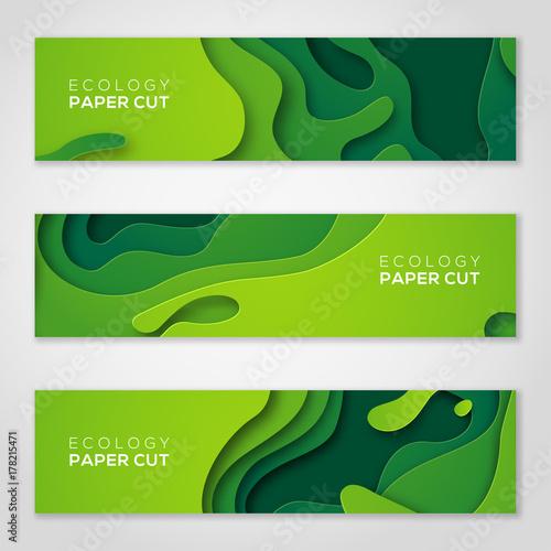 Horizontal banners set, green paper cut shapes. Wall mural