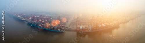 Aluminium Prints Port container terminal in morning fog