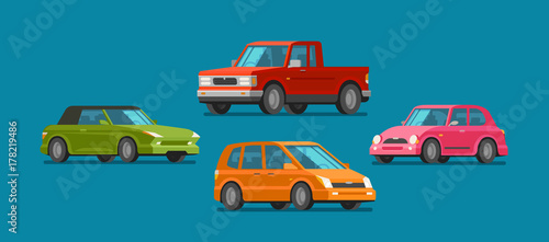 Cars, set of icons. Vehicle, automobile, garage, transport, car service concept. Cartoon vector illustration