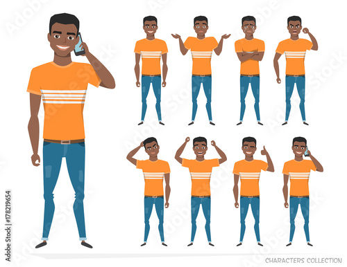 Photo Set of emotions and gestures to the young black african american man