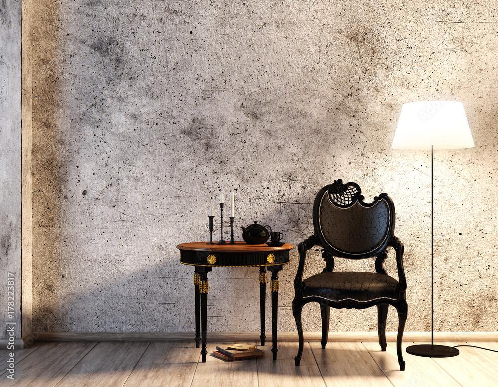 Fototapeta Rustikale Sitzecke vor Betonwand mit Lederstuhl (schwarz)