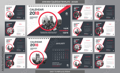 Desk Calendar 2018 Template 12 Months Included A5 Size Buy