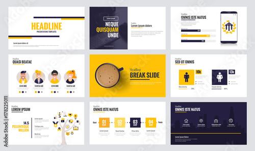 Infographics slide template design 6 Fototapeta