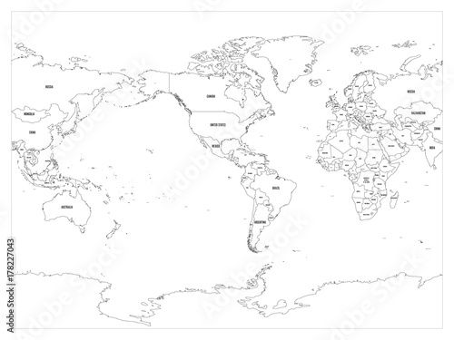 World map country border outline on white background with country world map country border outline on white background with country name labels america centered gumiabroncs Images