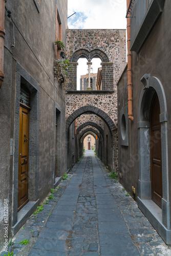 Medieval Street with four  arches Randazzo, Sicily, Italy Tapéta, Fotótapéta