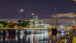Dublin, Republic of Ireland, night view of The Custom House, Tall Ships, Sean O'Casey Bridge over the River Liffey
