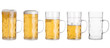 canvas print picture - Five Glass Mugs with Beer Sorted From Full to Empty