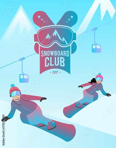 Staande foto Kinderkamer Snowboard club illustration showing a couple of man and woman. Female and male characters are standing on boards.