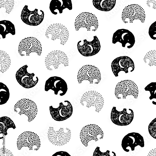 Seamless pattern with hand drawn silhouette elephants. Wallpaper Mural