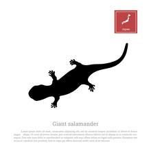 Black Silhouette Of A Japanese Giant Salamander On White Background. Animals Of Japan