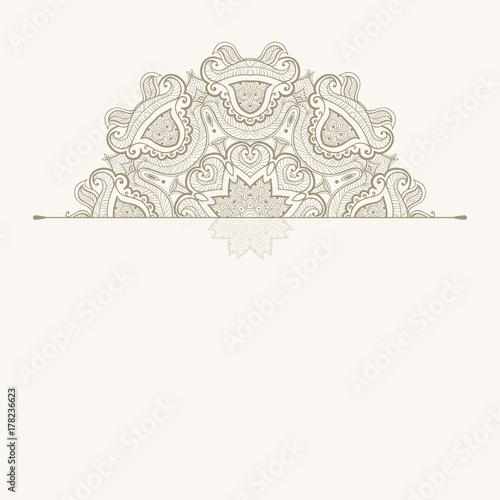 Plakat Kwiatowy orientalny wzór. Piękna Mandala. Vintage element dekoracyjny. Etniczny okrągły ornament. Szablon z życzeniami
