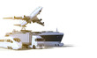 Logistics and transportation ,truck ,High speed train, Boat and plane on isolate Background / 3D rendering