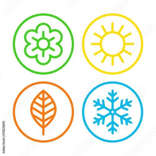Four seasons icon set Tablou Canvas