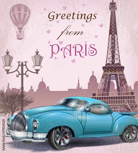 Vintage turystyczne karty z pozdrowieniami. Paryż