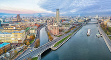 Aerial Panorama Of Moscow Near...