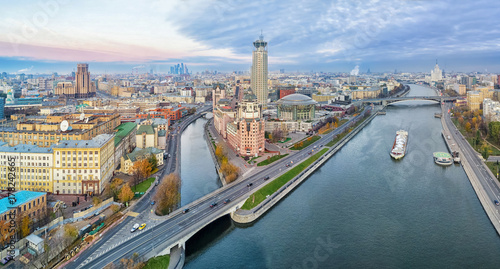 Poster Moskou Aerial panorama of Moscow nearby the confluence of Vodootvodny Canal and Moskva river