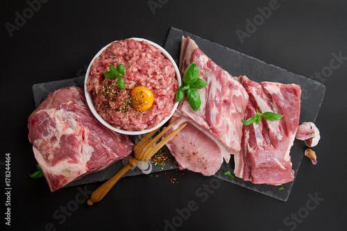 Plakat Różne rodzaje mięsa wieprzowego