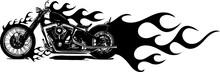 Motocicletta In Fiamme Bianco E Nero