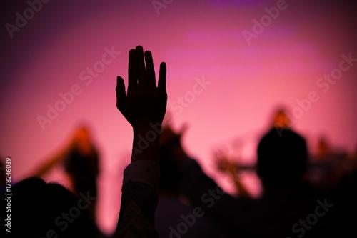 Valokuva  praise hand up in church