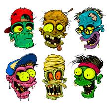 Zombie, Vampire, Mummy Heads I...