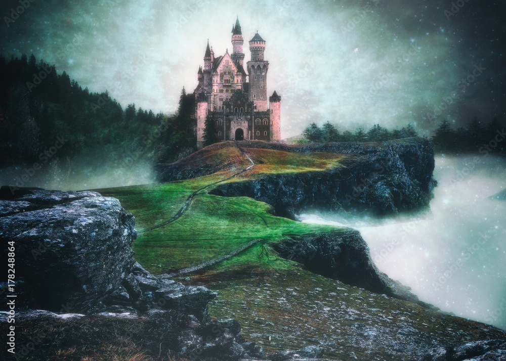 Fototapety, obrazy: A photo manipulation of a castle above the clouds in a magical setting