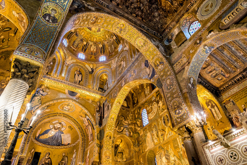 Saracen arches and Byzantine mosaics within Palatine Chapel of the Royal Palace in Palermo, Sicily, Italy
