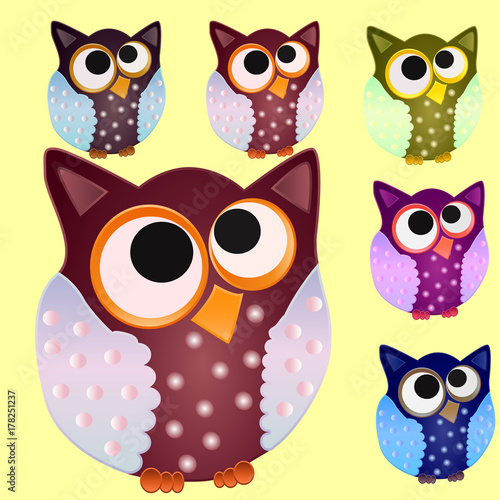 Staande foto Kinderkamer Set of six Brown owl with blue wings in speckled and centered eyes