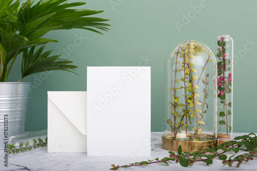 Fotografie, Obraz  Vertical greeting card mockup background surrounded by plants in terrariums