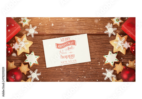 Card with christmas cookies on wooden table mockup adobe for Copc table f template
