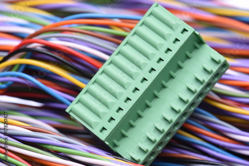 Photo  Electric plug connector and colorful cables
