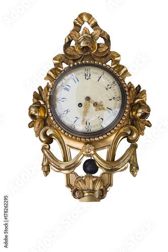Zdjęcie XXL Stary antyczny pozłacany ścienny zegar odizolowywający bez tła