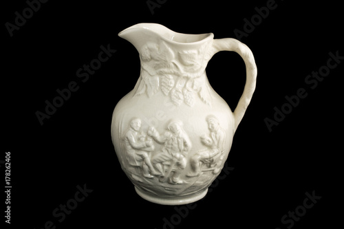 Old Porcelain Vase Three Men Drinking And Laughing Black Isolated