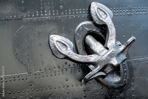 Canvas Prints Ship Ship heavy old metal anchor on the side of the boat.