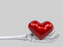3d Rendering. Skeleton Hand Bone Holing Red Heart With Gray Copy Space Background. Love Forever Until Die Concept