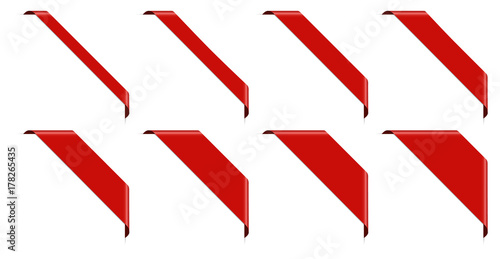 Fototapeta set of 8 red corner banner obraz