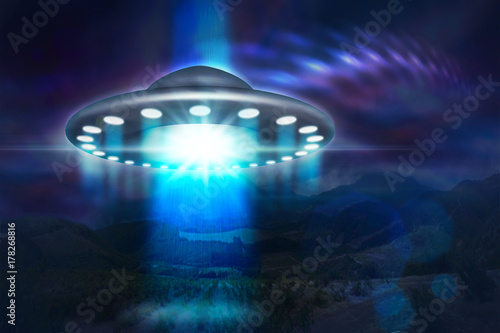 Poster UFO low key image of UFO hovering over a mountains at night 3d illustration