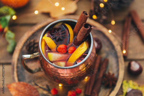 Staande foto Thee Mulled wine. Autumn composition