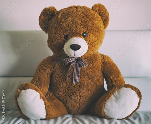Lovely teddy bear sitting on a sofa #178276049