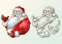 Santa Claus In Engraving Style...
