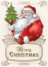 Christmas Postcard With Santa ...