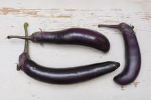 Organic Japanese Eggplant On W...