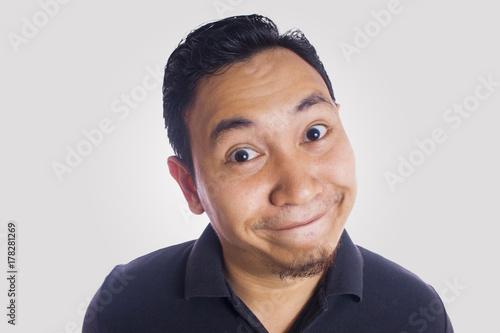 Fotografía  Funny Asian Man Close Up Smiling Silly Face